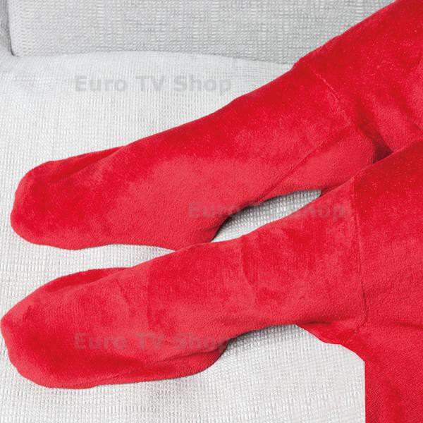 Плюшено одеяло с джобове за крака - червено