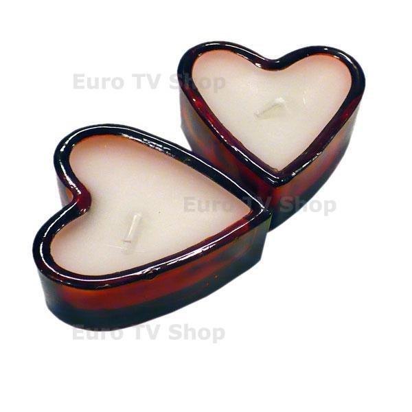Комплект свещи с форма на сърце