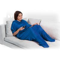 Плюшено одеяло с джобове за крака - синьо